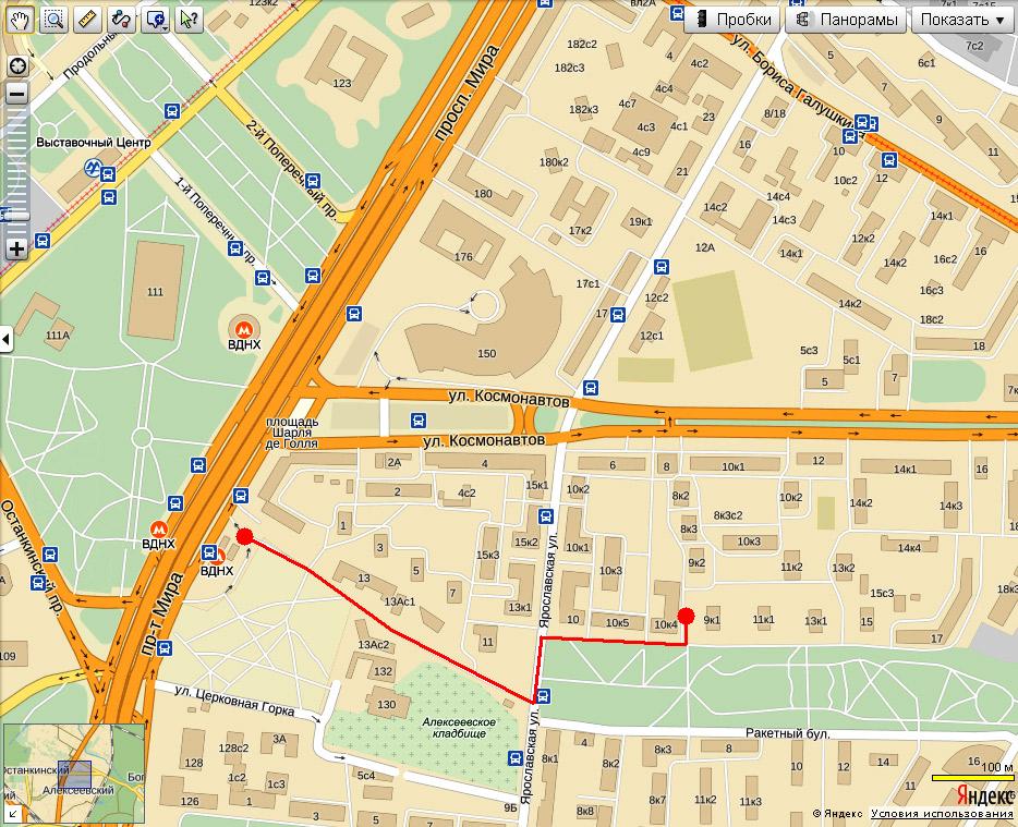 Схема маршрута пешком