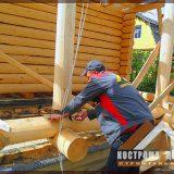 Строительство веранды дома из бревна.